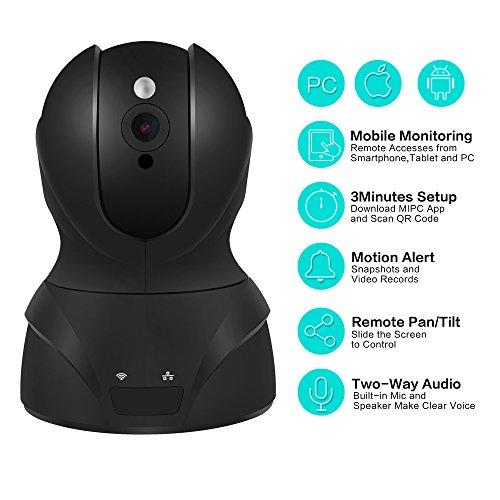 720P WIFI IP Security Camera Pan/Tilt Zoom Indoor Video Surveillance CCTV Camera, Plug/Play, with Two-Way Audio &Night Vision & Motion Detection (Black) (Pan Tilt Zoom)