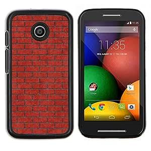 EJOOY---Cubierta de la caja de protección para la piel dura ** Motorola Moto E ** --Pared de ladrillo Rosa Rojo Significado Música