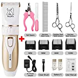 Bojafa Dog Grooming Clippers Professional Low Noise and Cordless Pet Grooming Clippers Tools Horse Cat Dog Hair Clippers Trimmer