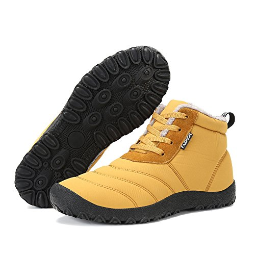 JACKSHIBO Women Men Fur Lined Slip On Snow Boots Outdoor Waterproof Winter Boots Camel o8JJdM