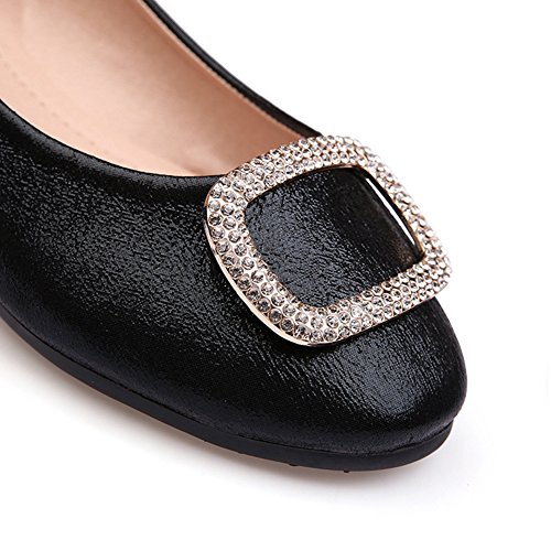 Flats On Women's for JULY T Toe Dress Round Comfort Black Slip Shoes Casual Ballet 7gq1wfc5w