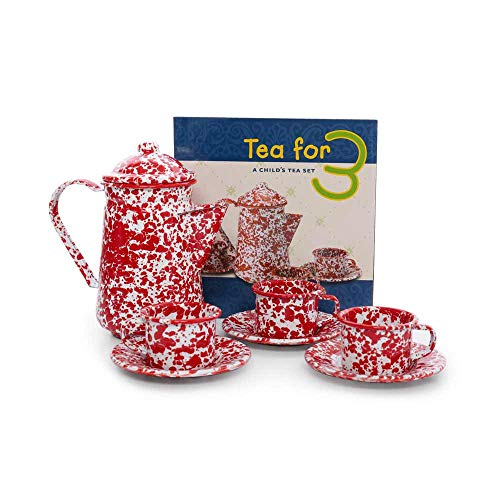 - Crow Canyon Home Enamelware Children's Tea Set, Red/White Splatter