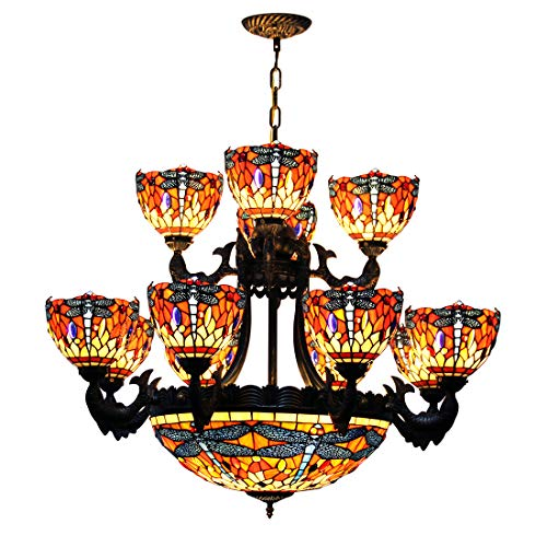 Eight Arm Chandelier - Makenier Vintage Tiffany Style Stained Glass Red Dragonfly 20 Inches + 8 Arms + 4 Arms Double Layer Big Chandelier