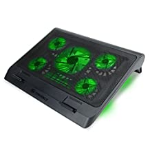Enhance Gaming Laptop Cooling Pad Stand with LED Cooler Fans, Adjustable Height, Dual USB Port for 17 inch Laptops - 5 Ultra Quiet High Performance Fans 2630 RPM & Built-in Bumpers - Green