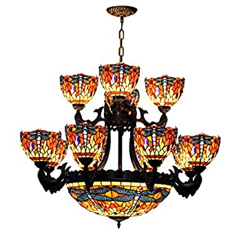 Makenier Vintage Tiffany Style Stained Glass Red Dragonfly 20 Inches + 8 Arms + 4 Arms Double Layer Big Chandelier