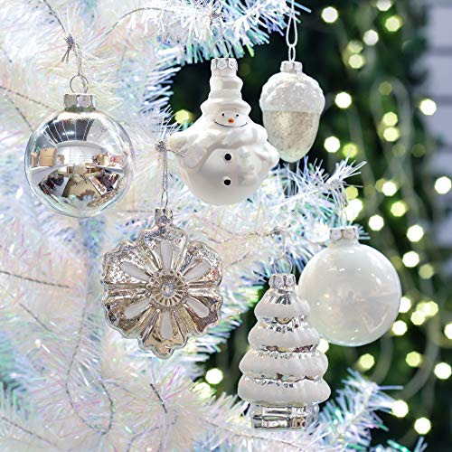 Teresas Collections 12ct Frozen Winter Glass Blown Christmas Ball Ornaments Silver White,2.36inch-3.54inch for Christmas Tree