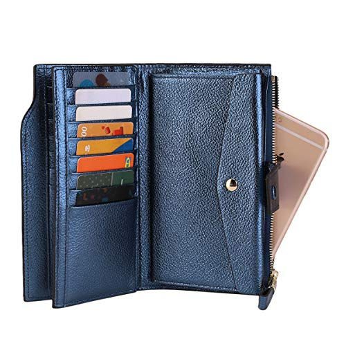 Itslife Women's RFID Blocking Large Capacity Luxury Wax Genuine Leather Clutch Wallet Card Holder Organizer Ladies Purse (4-Pebbled Blue Gold) by ITSLIFE (Image #4)