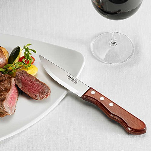 Tramontina ProLine 8-piece Serrated Stainless Steel Edge Porterhouse Steak Knife Set in Riveted Plywood Handles