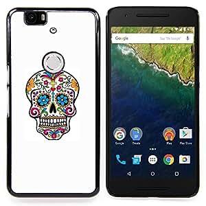 - Colorful Sugar Skull - - Cubierta del caso de impacto con el patr??n Art Designs FOR Huawei Nexus 6P Queen Pattern