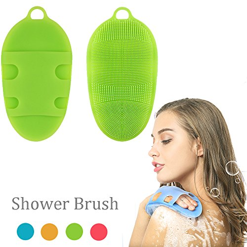 Soft Silicone Body Brush Body Wash Bath Shower Glove Exfoliating Skin SPA Massage Scrubber Cleanser, for sensitive and all kind skins (Green)