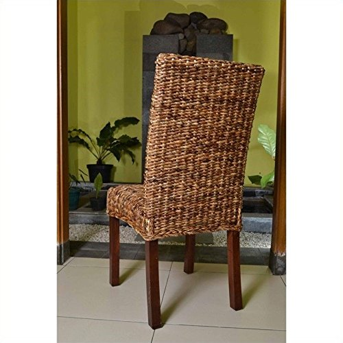 International Caravan SG-3330-2CH-IC Furniture Piece Set of Two Louisa Abaca Cushioned Seat Dining Chair