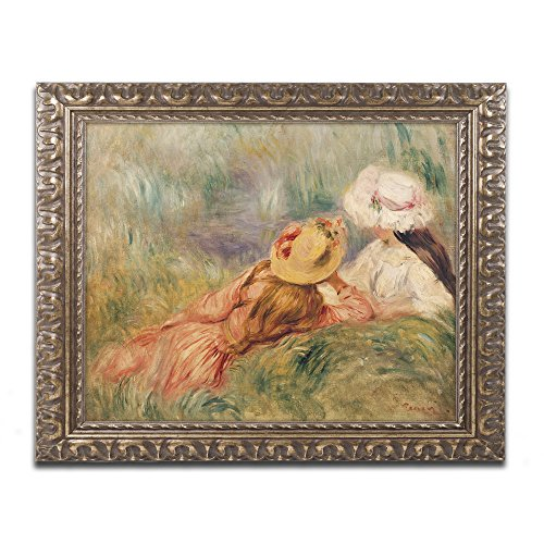 Young Girls by The Water Artwork by Pierre Renoir in Gold Ornate Frame, 11 x (Renoir Young Girl)