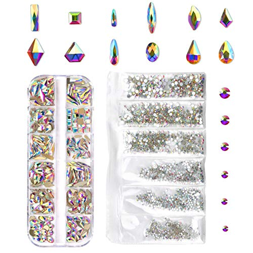 240 Piece Multi Shapes Glass Crystal AB Rhinestones For Nails Art 3D Decorations, Mix 12 Styles FlatBack Nail Crystals Gems Set (240 pcs Crystals+1728 pcs rhinestones) ()
