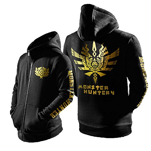[Mens Hunter Hoodie Deluxe Black Cotton Monster Outfit CL Cosplay L] (Monster Hunter Cosplay Costume)