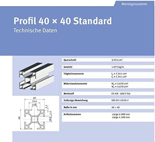 14 Meter Aluprofil Standard 40 x 40mm für Solar-, Photovoltaik- Montage von bau-tech Solarenergie GmbH/Lieferung 7 x 2,0m