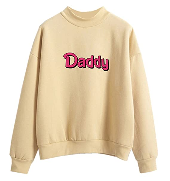 Fashiononly Teen Sweatshirts Kawaii Pastel Daddy Print Beige Harajuku  Pullover Clothes Hoodies Blouse Tops 2d594d0a4
