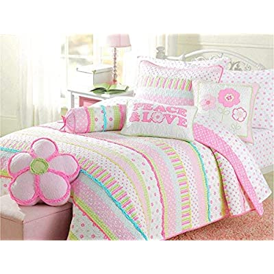 Image of Cozy Line Home Fashions Pink Greta Pastel Polka Dot Flower 100% Cotton Reversible Quilt Bedding Set, Coverlet, Bedspreads (Twin - 5 Piece: 1 Quilt + 1 Standard Sham + 3 Decorative Pillows) Home and Kitchen