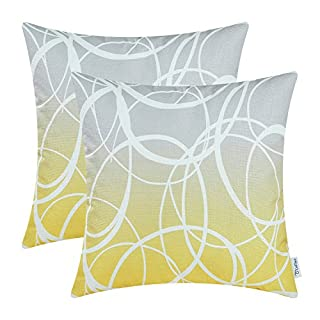 CaliTime Pack of 2 Soft Canvas Throw Pillow Covers Cases for Couch Sofa Home Decor Modern Gradient Ombre Circles Rings Both Sides 18 X 18 Inches Gray to Yellow