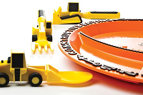 Constructive Eating - Construction Utensil Set with Construction Plate 7 Engraved with a laser - No machinery touches plate surface Set comes with Construction Plate plus 3 Construction Utensils Makes eating fun for kids so theyll want to eat their vegetables!