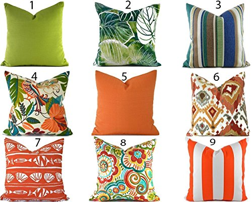 Outdoor Decorative Throw Pillow Cover Any Size OD Orange and Green