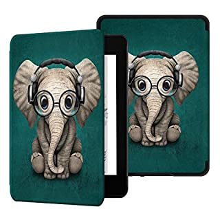 Ayotu Water-Safe Case for Kindle Paperwhite 2018 - PU Leather Smart Cover with Auto Wake/Sleep - Fits Amazon All-New Kindle Paperwhite Leather Cover (10th Generation-2018),K10 The Elephant