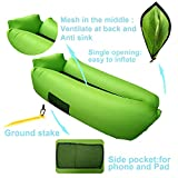 Easycouch Inflatable Lounger With Travel Bag,Waterproof Ripstop Polyester,Gift for indoor or outdoor (Green)