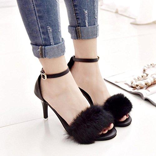 Noir Sandales Hauts Heel à Escarpins Fourrure Rawdah à Sandales à Talons Kitten Rawdah Talons Chaussures La Femme YzxawfB
