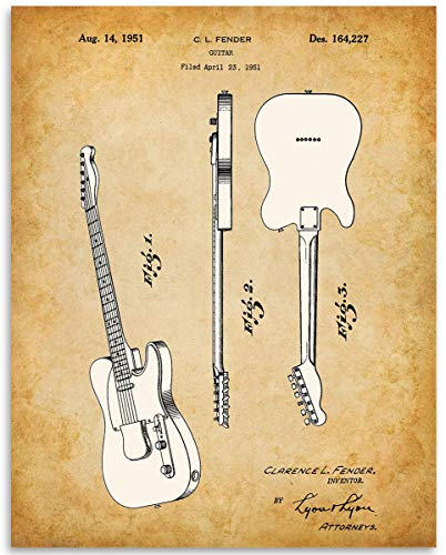 1951 Fender Telecaster Guitar Patent - 11x14 Unframed Patent Print - Great Gift Under $15 for Guitar Players