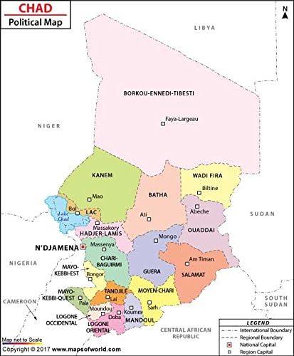 Amazon.com : Political Map of Chad - Laminated (36\