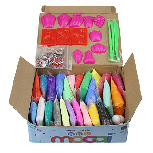 Magic Modeling Clay 24 Colors Ultra Light Air Dry Clay, Non-toxic DIY Plasticine Dough, Sculpture Tool set Modelling Moulding Tool, Educational Creative Craft Kit Best Gift for Kids