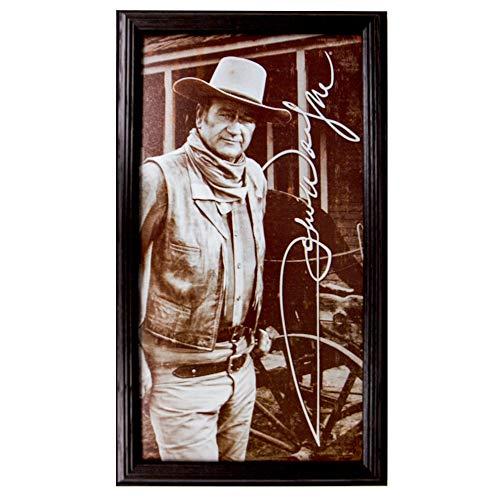John Wayne Vertical Tin Sign 10 x 17.5 in Framed by Northern Promotions - Vintage Collectible Duke Memorabilia, Black Oak Ash Hardwood ()