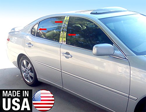(Made in USA! Works With 03-06 Lexus ES 300/330 6PC Stainless Steel Chrome Pillar Post Trim)