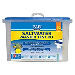 Protect marine fish and invertebrates from unsafe water conditions with API SALTWATER MASTER TEST KIT. Fish waste, uneaten food, plant refuse and other organic compounds can create harmful levels of ammonia, nitrite and nitrate as well as cau...