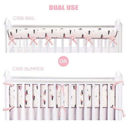 BROLEX Dual Use Crib Rail Cover/Crib Bumper-1 Pack For Narrow Long Rail,Fit Rails up to 8