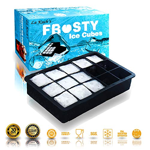 Ice Cube Tray 1pack Silicone Mold Maker Large Square 1.5inch Ice Cubes  Bourbon WhiskeyCocktail &other drinks Certified✔️BPA Free✔️FDA Approved✔️Ethical Choice✔️Dishwasher&OvenSafe