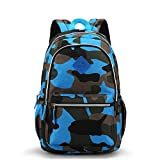 Waterproof Camo Backpack for Elementary & Middle School Kids Bookbag for Military Fans Women Men Tactical Daypack (Blue)