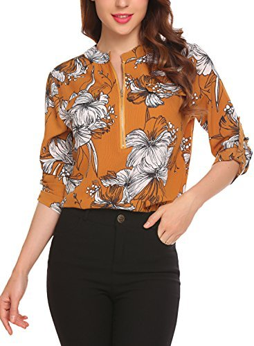 Lomon Blouses Shirts For Women Chiffon Roll Up Sleeve Casual Floral Y Tops With Zipper, Yellow, Medium by Lomon