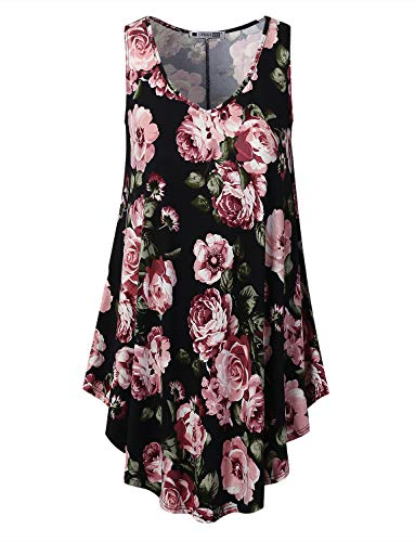 URBANCLEO Womens Floral Vneck Sleeveless Tunic T-Shirt Dress Black Medium