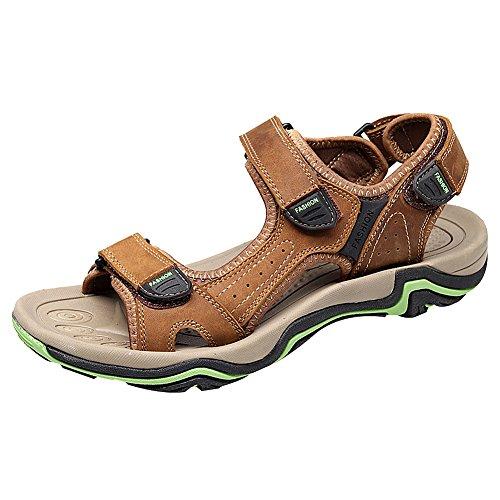 Jamron Men's Classic Genuine Leather Open-Toe Sport Sandals Summer Outdoor Sandal Sneakers Brown