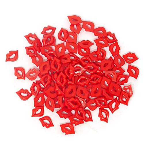 Honbay 100PCS DIY Sexy Red Lip Accessories Acrylic Flatback Kiss Lip Shaped Accessories for Arts, Crafts, Jewelry Making