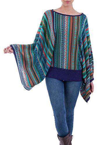NOVICA Multicolor Striped Kimono Sleeve Sweater, Lima Dance