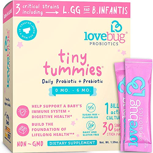 Lovebug Tiny Tummies Probiotic, 30 Packets, Infant & Baby probiotics Support for Babies 0-6 Months Old, Oral Probiotics Kids - Helps Reduce Crying & Fussiness (Size Of A 1 Month Old Baby Stomach)
