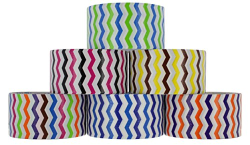 """RamPro Chevron Series Duct Tape Assorted Colors 6-Pack, 1.88"""" x 5 Yard – Colors Included: Blue/Orange/Green/Brown/Pink/Purple, Brown/Yellow, Green/Blue, Light/Dark Blue, Purple/Orange & (Birthday Duct Tape)"""