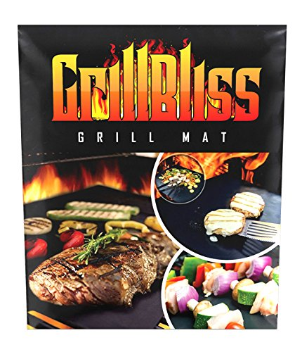 GrillBliss Grill Mat,Set of 4 BBQ Bake,liner,Heavy duty,100%non-stick,Reusable,FDA approved,Best quality,pad,sheet,accessories,perfect for Weber,Charbroil,Big green egg,smoker,Gas,Charcoal,Electric