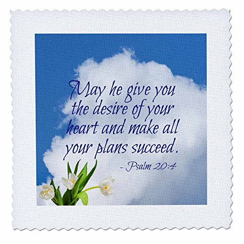 3dRose Alexis Design - Quotes Religion - Bible Quotes - May he give You The Desire of. White Cloud, Tulips - 12x12 inch Quilt Square (qs_280811_4) ()