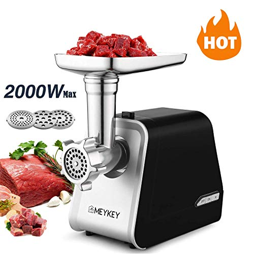 Kioles Electric Meat Grinder,The Mincer with 3 Grinders and Sausage Filling Tubes for Home Use, Stainless Steel Sausage Maker/Black / 2000W