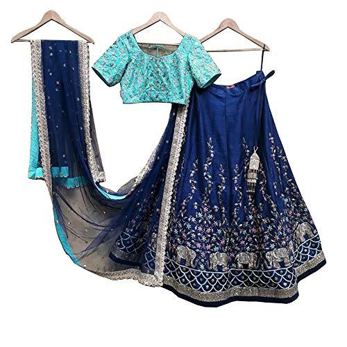 (Blue designer party wear bollywood lehenga choli with work trendy culture 0043)
