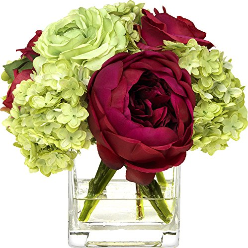 - BLOOMS by Diane James Faux Fall Rose and Ranunculus Bouquet in Glass Cube Vase
