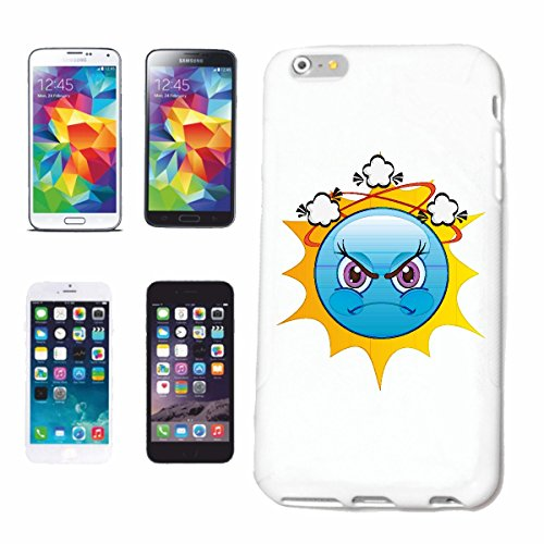 """cas de téléphone iPhone 7+ Plus """"MAD BLEU SMILEY SUN AS """"sourire EMOTICON APP de SMILEYS SMILIES ANDROID IPHONE EMOTICONS IOS"""" Hard Case Cover Téléphone Covers Smart Cover pour Apple iPhone en blanc"""
