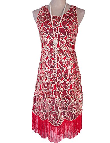 PrettyGuide Women's 1920s Sequin Paisley Racer Back Tassels Flapper Cocktail Dress – Small, Red